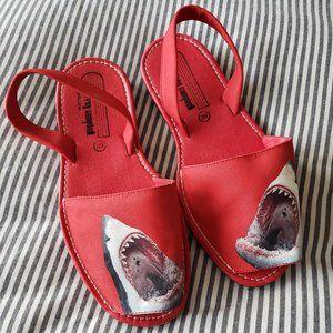 JEFFREY CAMPBELL Red Shark Sling Back Sandals